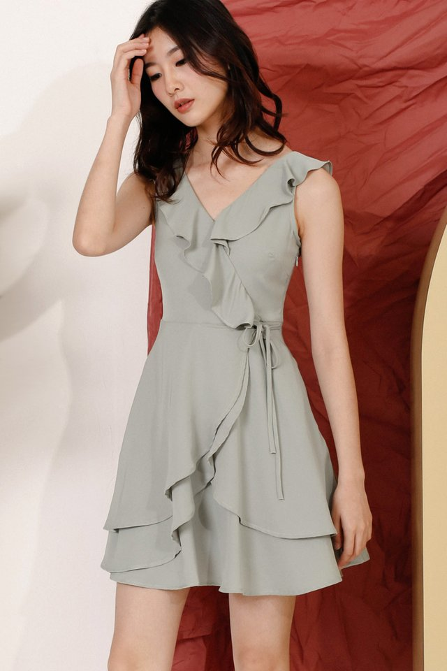 REI RUFFLES NECKLINE DRESS SAGE