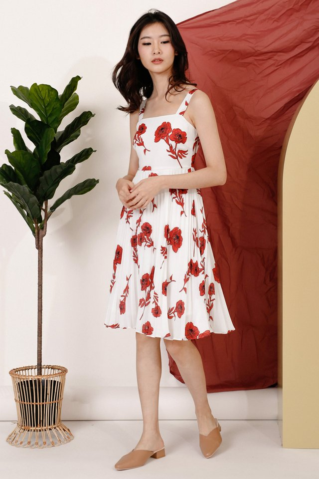 SOPHIA FLORAL PLEAT DRESS WHITE