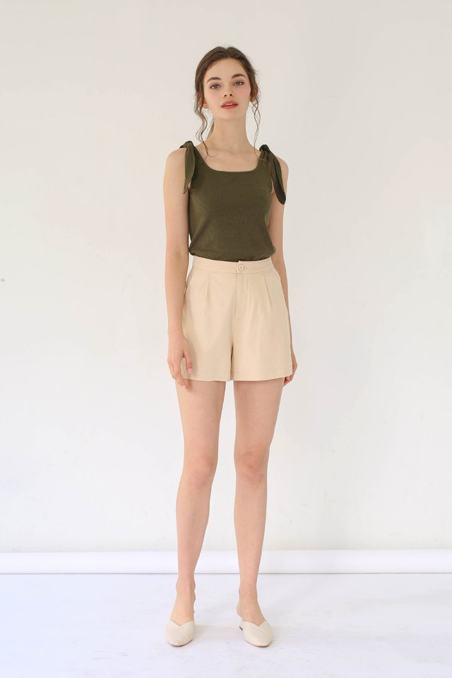 (BACKORDER) ALEXIS LINEN SHORTS TAN