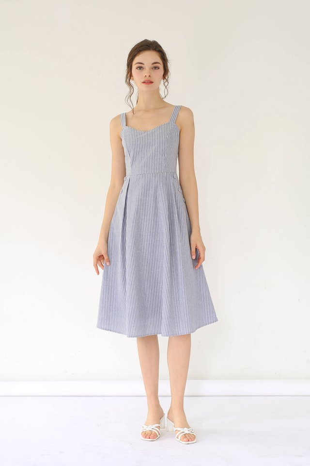 MANDY STRIPED LINEN DRESS BLUE