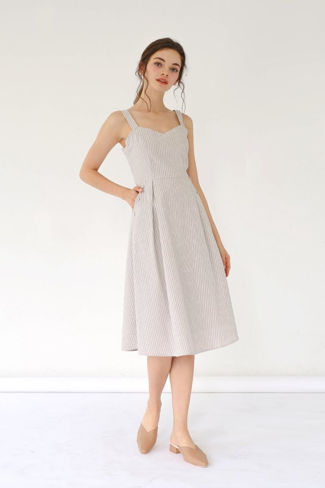 MANDY STRIPED LINEN DRESS GREY