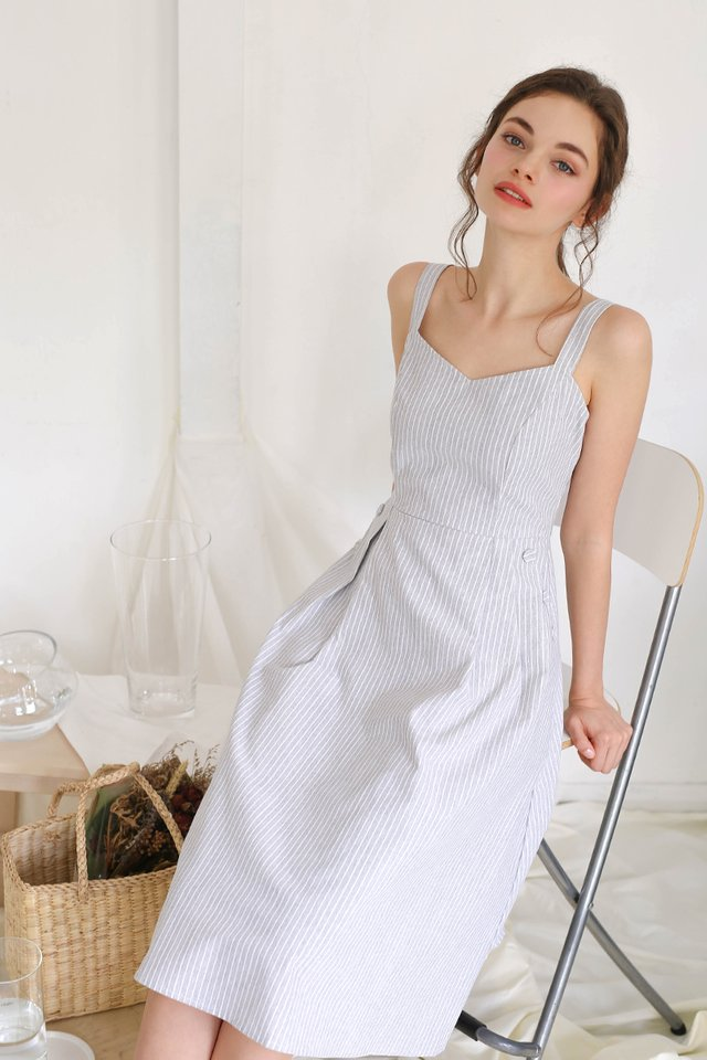 MANDY STRIPED LINEN DRESS LIGHT BLUE