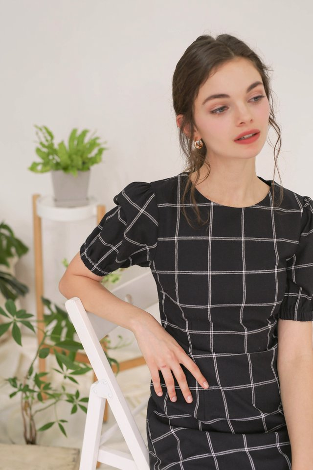 ALICE GRID DRESS BLACK