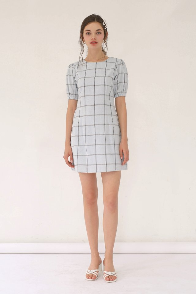ALICE GRID DRESS SKY