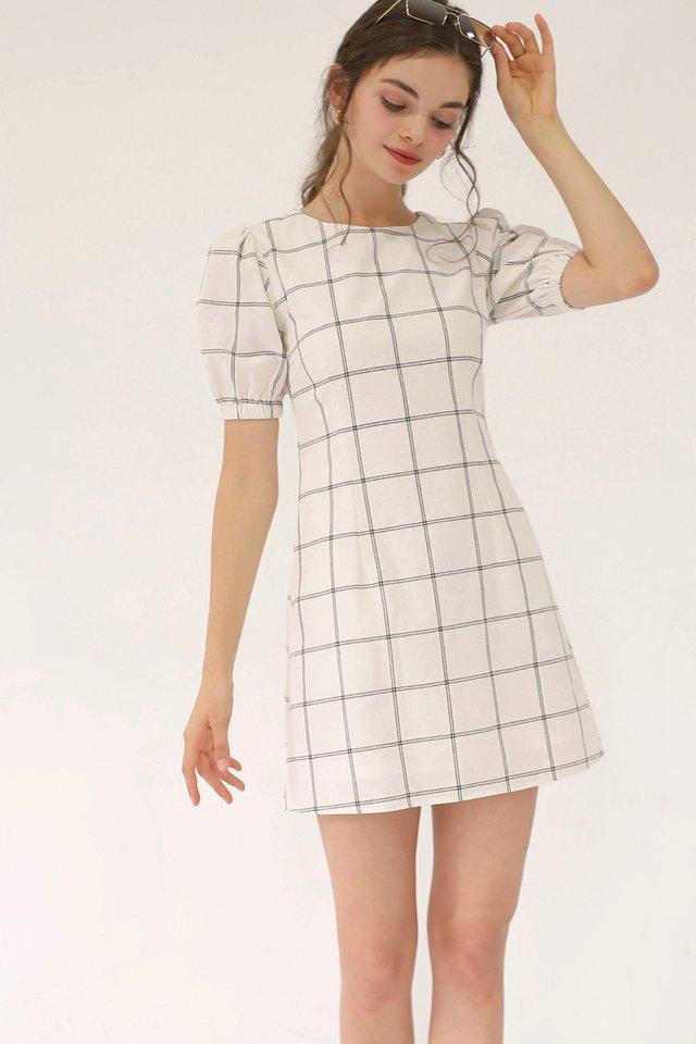 ALICE GRID DRESS WHITE