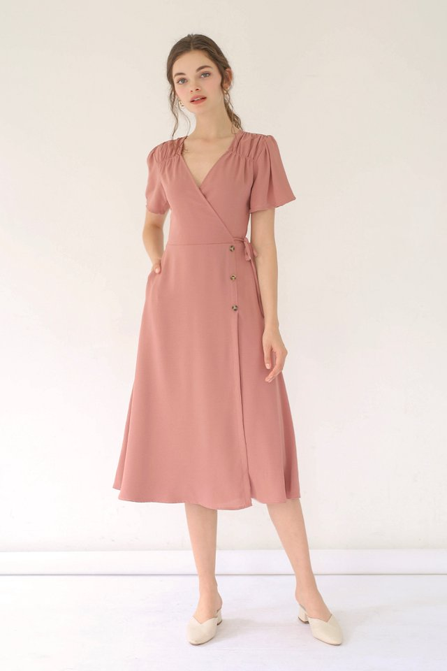 AUDREY WRAP DRESS BLUSH