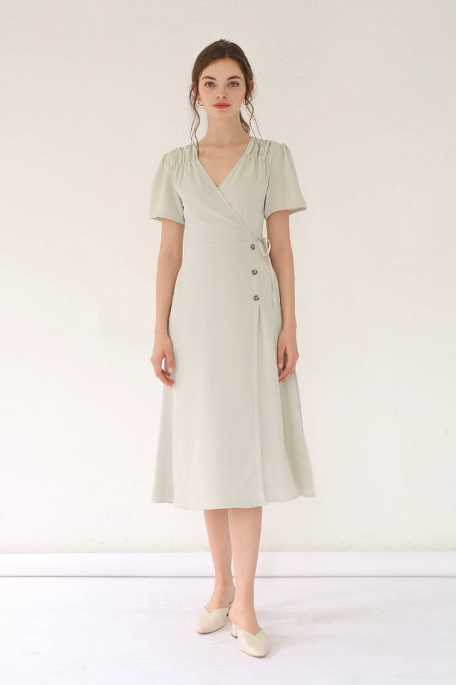 AUDREY WRAP DRESS SAGE