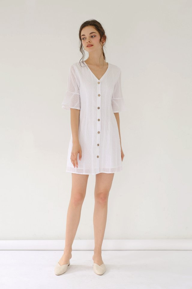 ELLA SWISS DOT DRESS WHITE