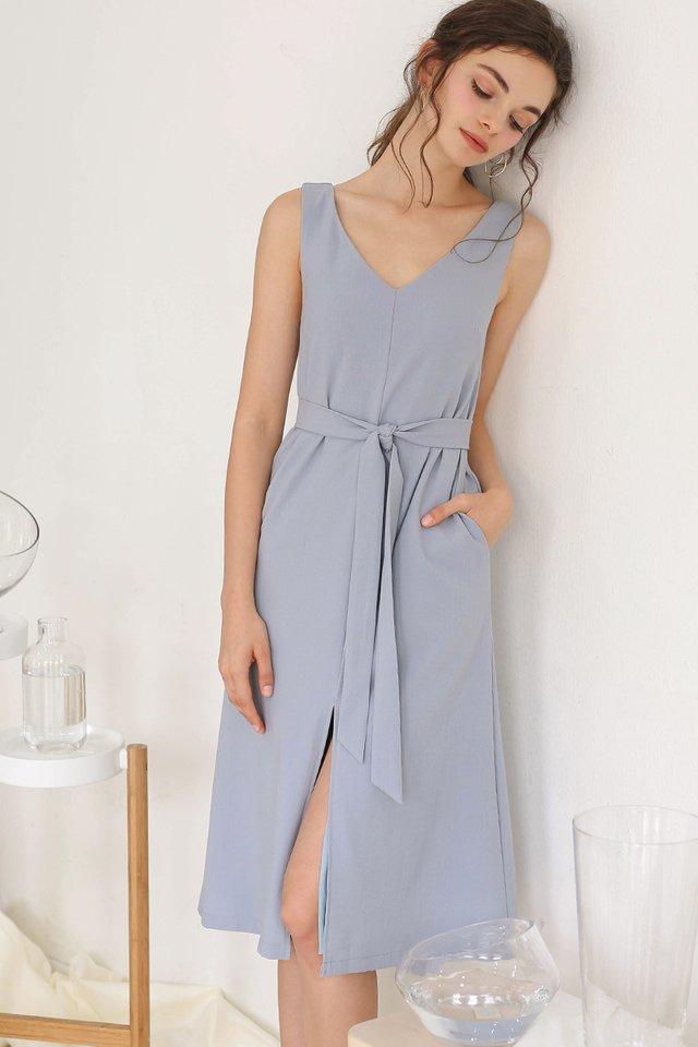 GWEN LINEN SLIT DRESS SKY