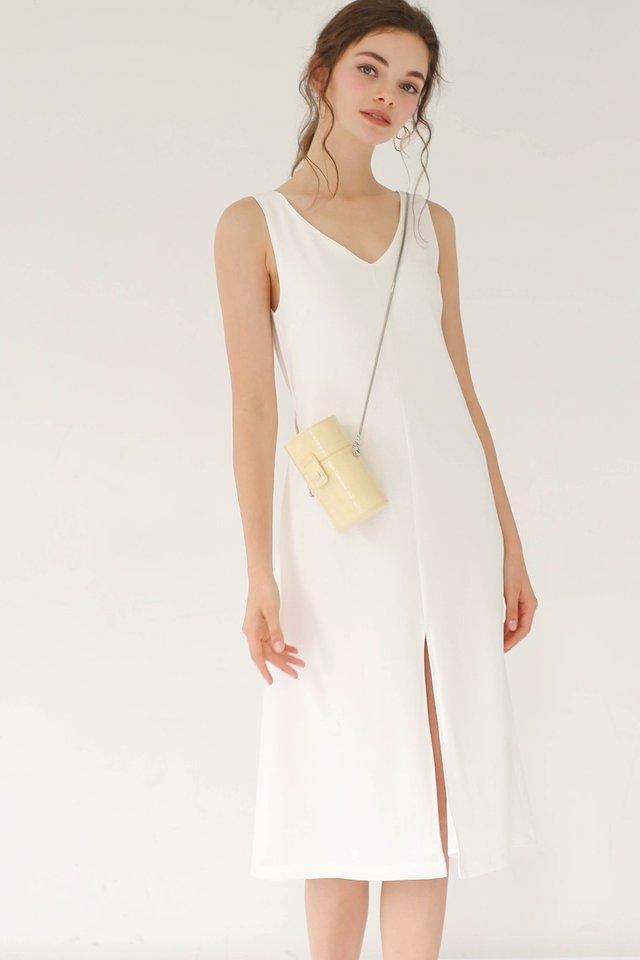 GWEN LINEN SLIT DRESS WHITE