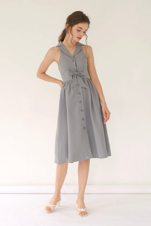 HAYLEY TIE WAIST DRESS DUSK