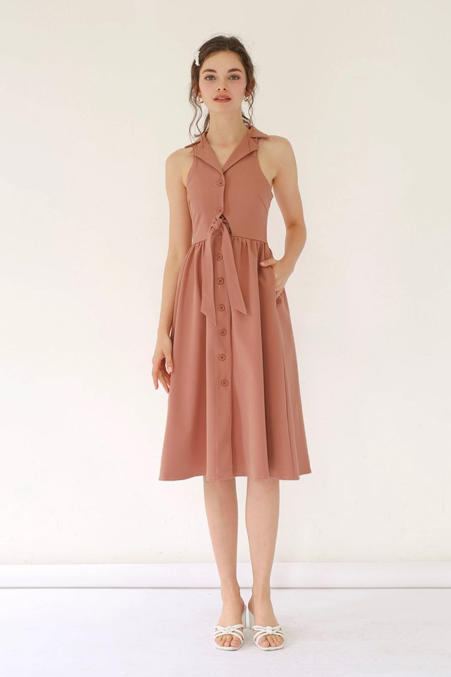 HAYLEY TIE WAIST DRESS SIENNA