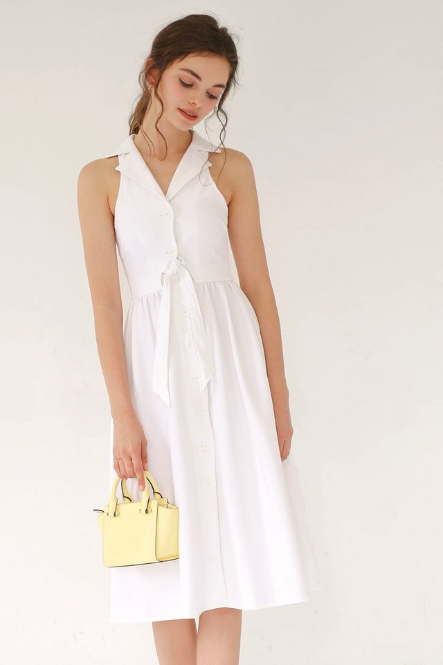 HAYLEY TIE WAIST DRESS WHITE
