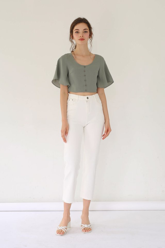 JODIE FLUTTER SLEEVE CROP TOP FERN