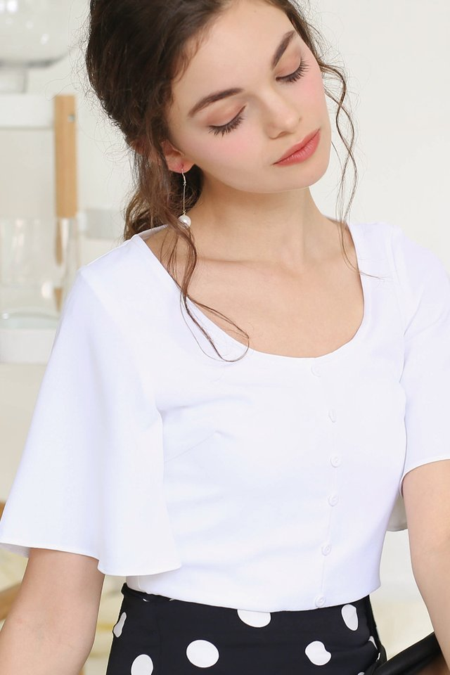 JODIE FLUTTER SLEEVE CROP TOP WHITE
