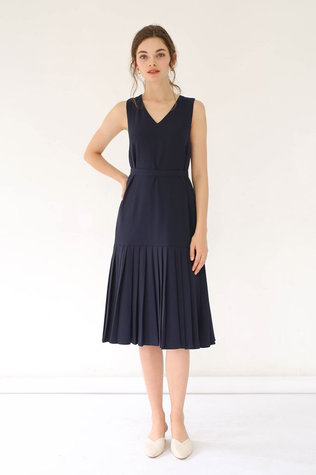 BONITA PLEAT HEM DRESS MIDNIGHT