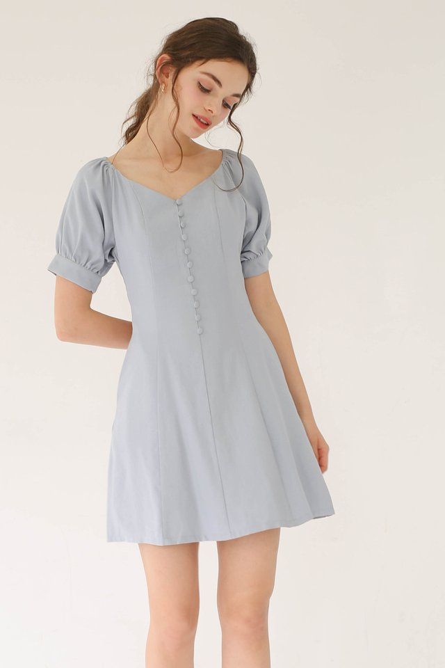 LEXI PRINCESS POUF DRESS POWDER BLUE