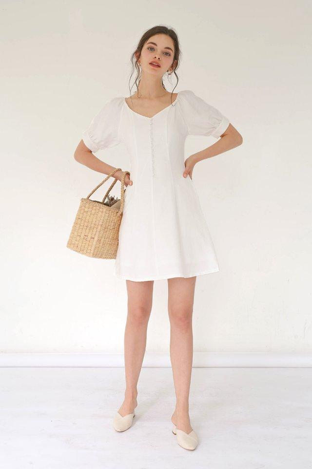LEXI PRINCESS POUF DRESS WHITE
