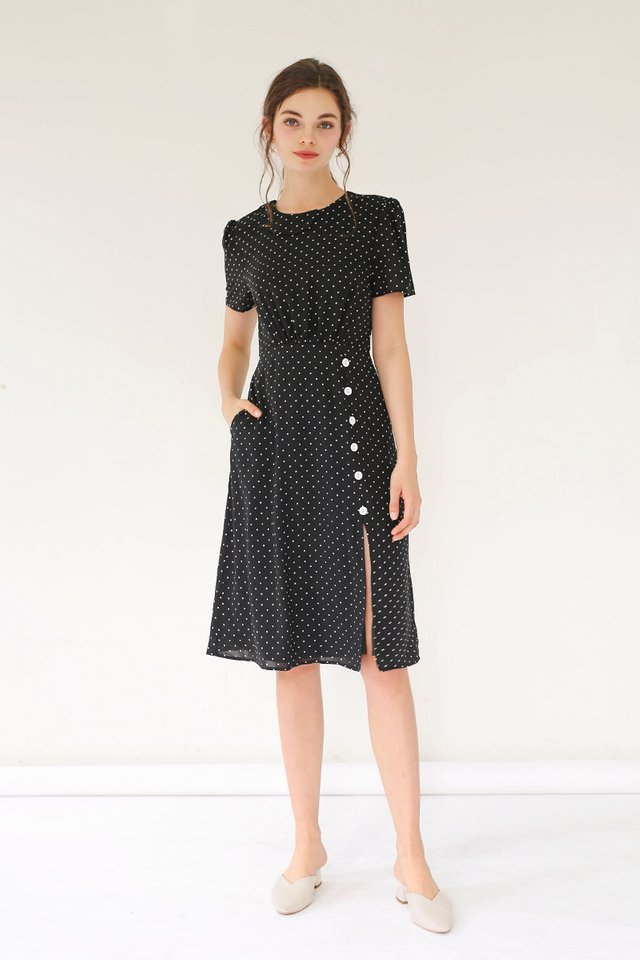 BLAIR POLKADOT MIDI DRESS BLACK