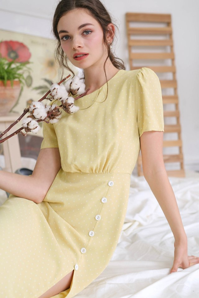 BLAIR POLKADOT MIDI DRESS MARIGOLD