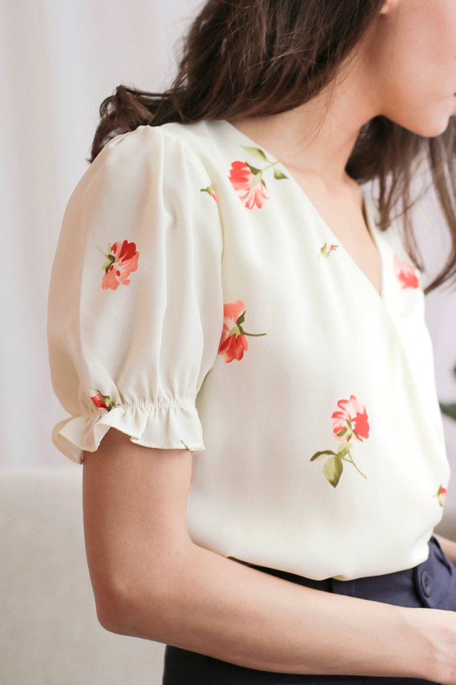 CAITLYN WRAP TOP FLORAL