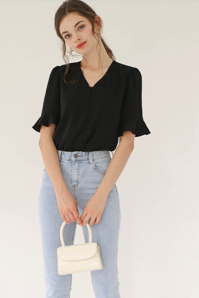(BACKORDER) GRACE BUTTONDOWN TOP BLACK