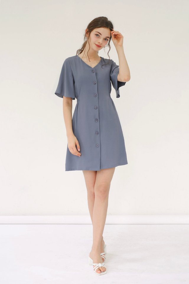 SERENA FLUTTER SLEEVE DRESS OCEAN