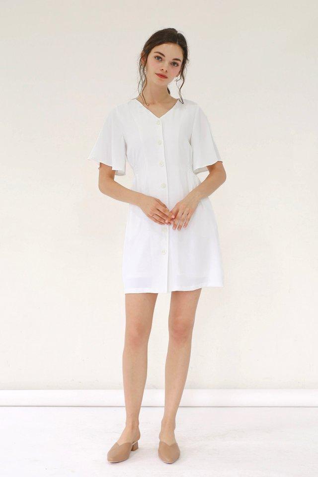 SERENA FLUTTER SLEEVE DRESS WHITE