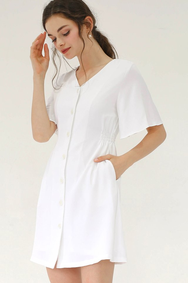 SERENA FLUTTER SLEEVE DRESS WHITE