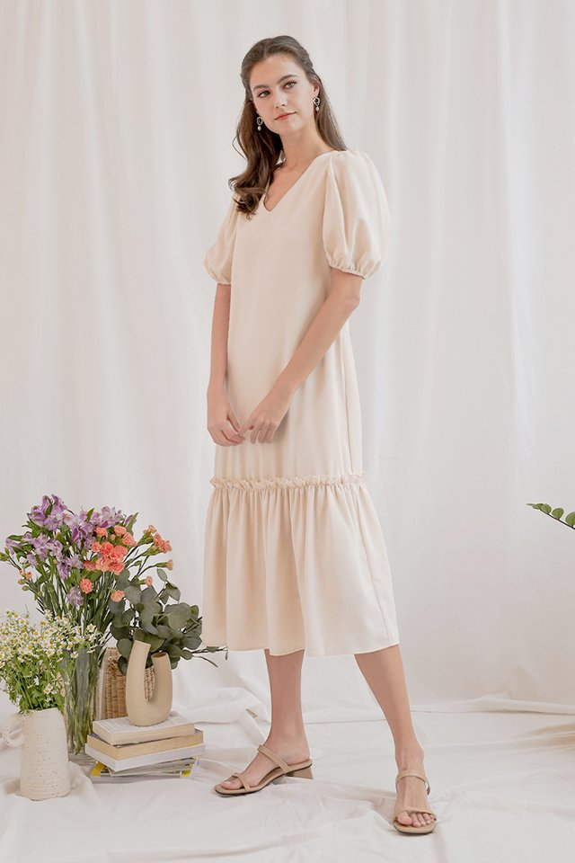 BREE DROP HEM DRESS NUDE