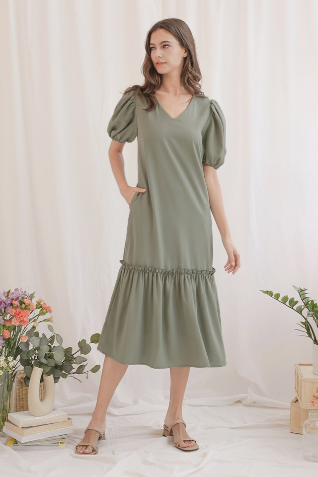 BREE DROP HEM DRESS SEA SPRAY