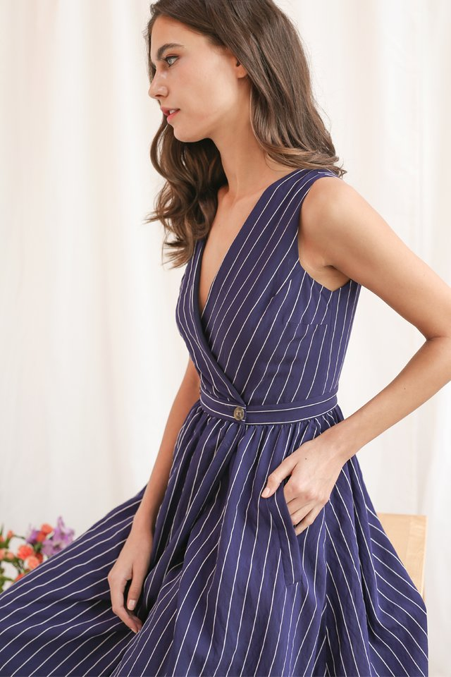 CORALE STRIPED WRAP DRESS NAVY
