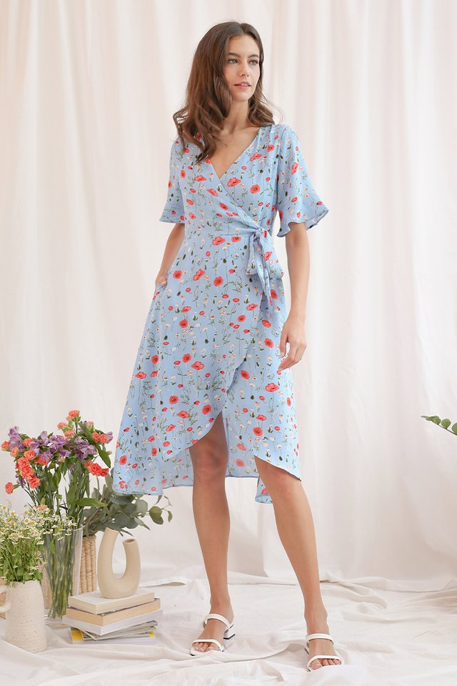 SONYA WRAP DRESS SKY