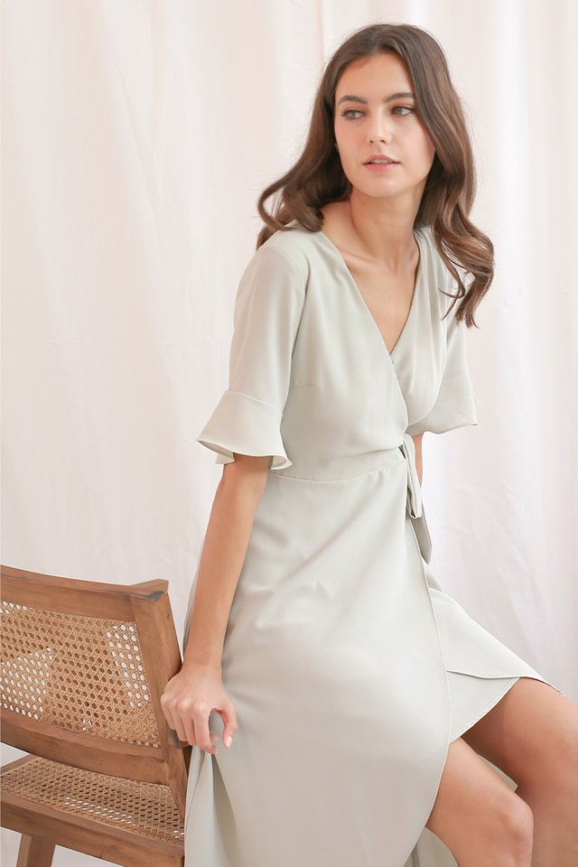 SONYA WRAP DRESS SAGE