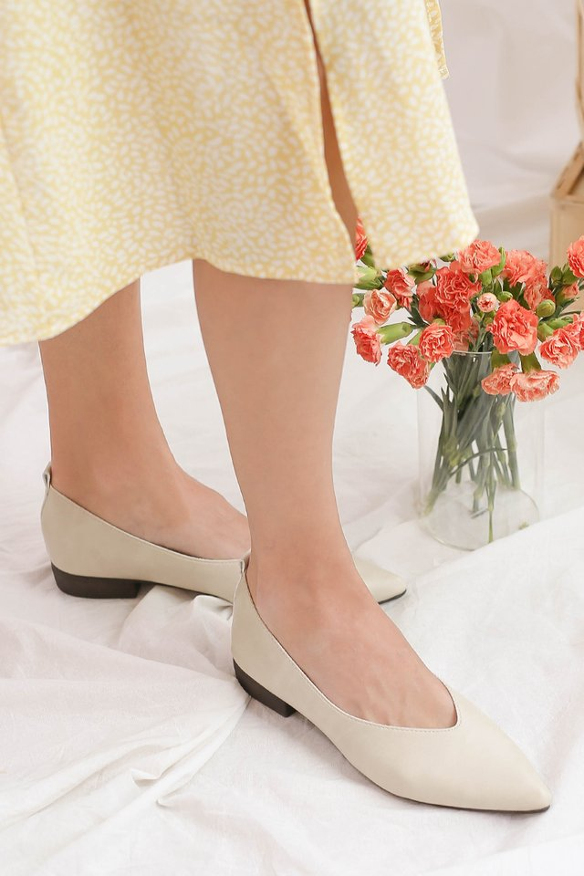MABEL LEATHER FLATS CREAM