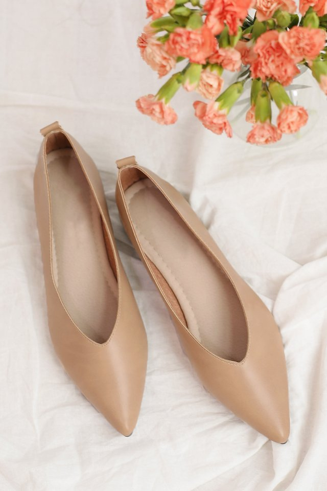 MABEL LEATHER FLATS NUDE