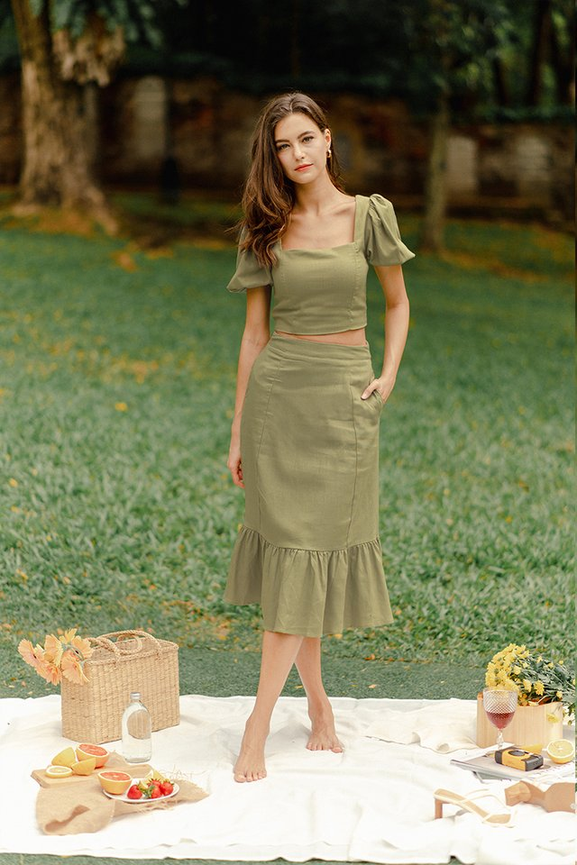 CHRISTY LINEN SKIRT THYME