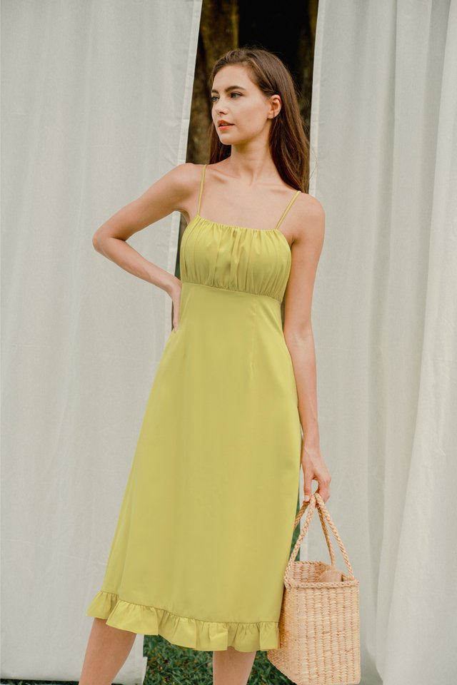 SASHA RUCHED DRESS LIME