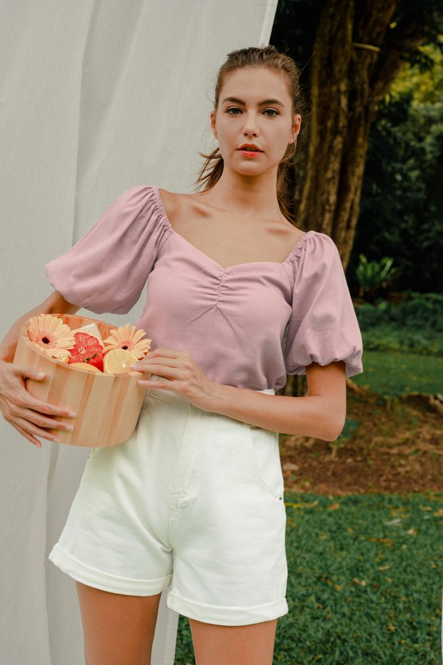 JUDITH RUCHED LINEN TOP PEONY