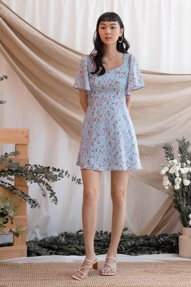 CANDACE FLUTTER SLEEVE DRESS SKY