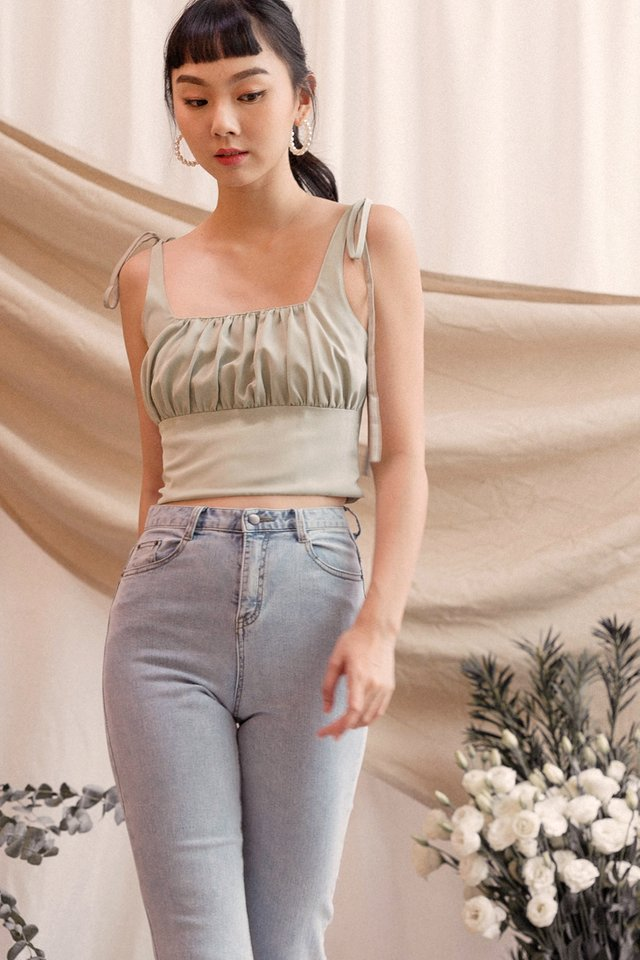 ERIKA RUCHED CROP TOP BAMBOO