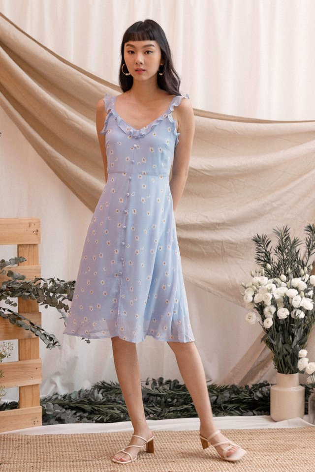 JULIE RUFFLES STRAP DRESS SKY