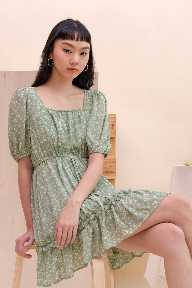 FREYA BABYDOLL DRESS GREEN