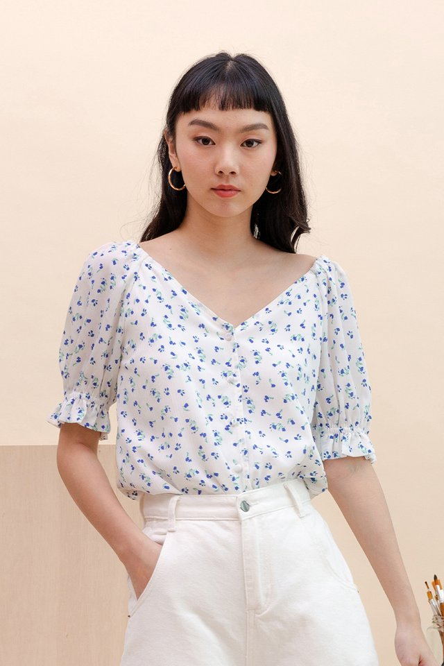 JESSICA FLORAL TOP WHITE