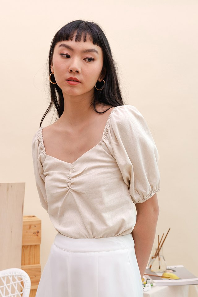 JUDITH RUCHED LINEN TOP NUDE