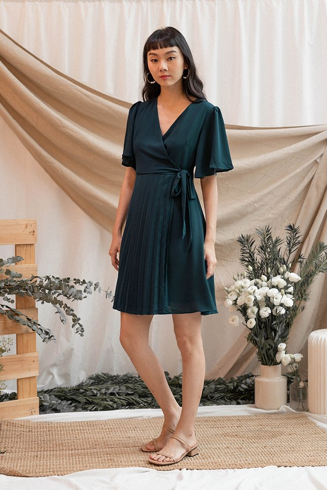 MAISY PLEAT WRAP DRESS LUSH