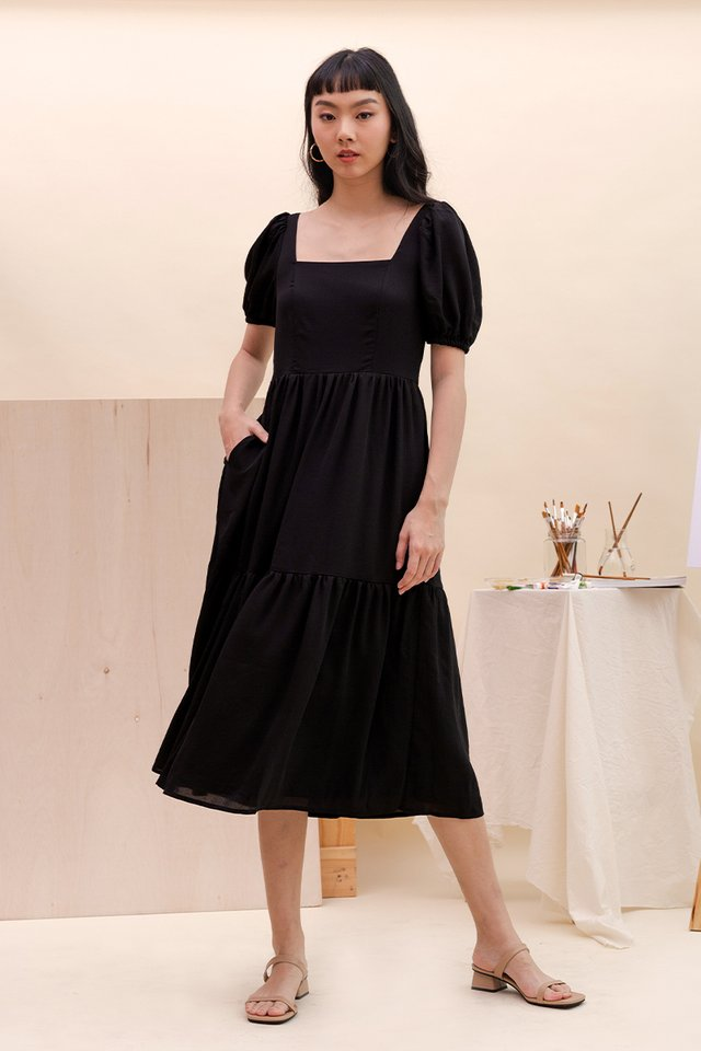 TALIA SQUARE NECK DRESS BLACK