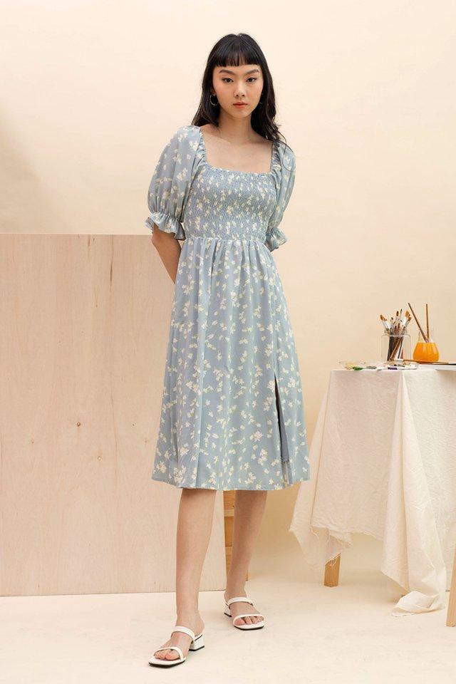 MAYA SMOCKED DRESS BLUE