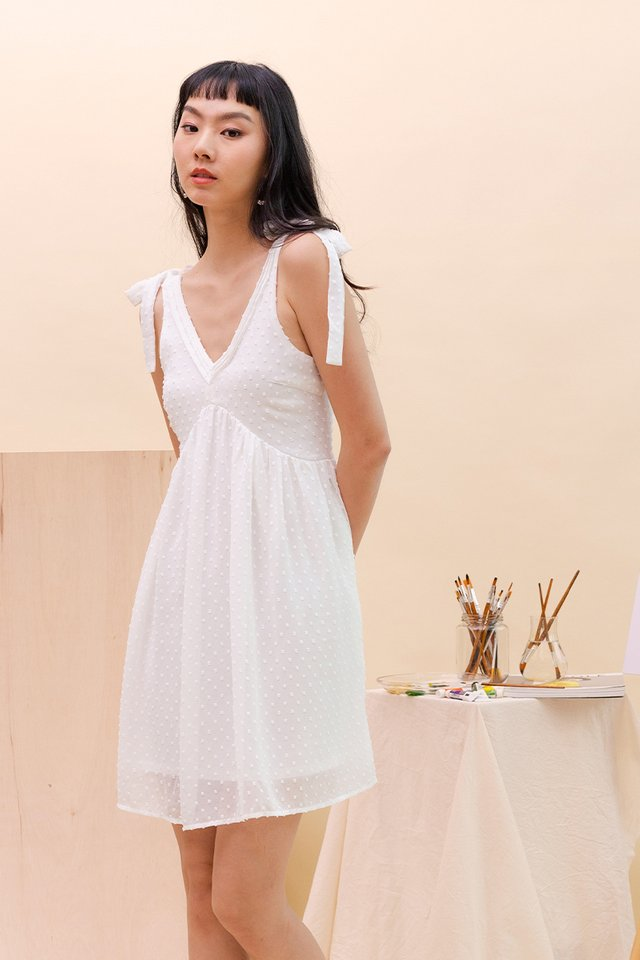 ADRIA SWISS DOT DRESS WHITE