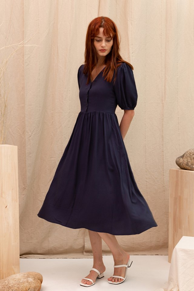 WHITNEY V NECK DRESS NAVY